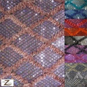 Diamond Ruffle Satin Sequin Fabric