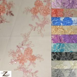 Dahlia Flower Sequins Mesh Fabric