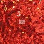 Curly Sequin Mesh Fabric Red
