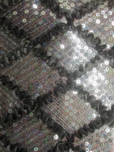 Diamond Ruffle Satin Sequin Fabric Black