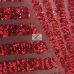 Cosmic Mini Disc Sequins Mesh Fabric Red