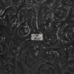 Curly Sequin Mesh Fabric Black