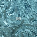 Curly Sequin Mesh Fabric Blue
