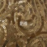 Curly Sequin Mesh Fabric Bronze