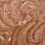 Curly Sequin Mesh Fabric Dusty Rose
