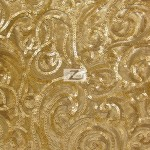 Curly Sequin Mesh Fabric Gold