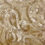Curly Sequin Mesh Fabric Ivory