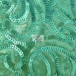 Curly Sequin Mesh Fabric Teal