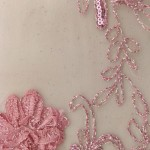 Dahlia Flower Sequins Mesh Fabric Dusty Rose