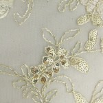 Dahlia Flower Sequins Mesh Fabric Gold