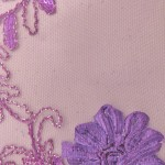 Dahlia Flower Sequins Mesh Fabric Purple