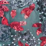 2 Tone Floral Bloom Sequins Mesh Fabric Black Burgundy