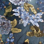 2 Tone Floral Bloom Sequins Mesh Fabric Gray Dark Gold