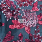 2 Tone Floral Bloom Sequins Mesh Fabric Red Burgundy