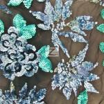 2 Tone Floral Burst Sequins Mesh Fabric Blue Turquoise