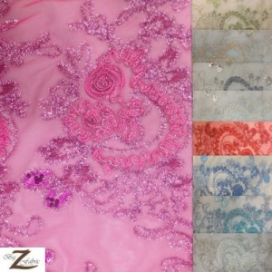 Floral Collage Nylon Mesh Sequins Fabric