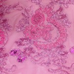 Floral Collage Nylon Mesh Sequins Fabric Fuchsia