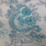 Floral Collage Nylon Mesh Sequins Fabric Turquoise
