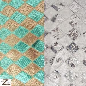 Diamond Checkered Sequins Mesh Fabric