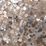 2 Tone Micro Disk Sequins Mesh Fabric Champagne Silver