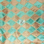 Diamond Checkered Sequins Mesh Fabric Tiffany Gold