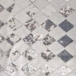 Diamond Checkered Sequins Mesh Fabric White Silver
