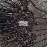Cosmic Floral Sequins Mesh Fabric Black