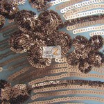 Cosmic Floral Sequins Mesh Fabric Bronze