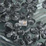 Cosmic Floral Sequins Mesh Fabric Gun Metal Gray