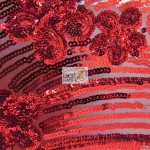 Cosmic Floral Sequins Mesh Fabric Red