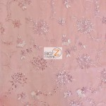 Appealing Snowflake Butterfly Sequins Dress Ornament Fabric Pink