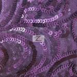 Curly Sequin Mesh Fabric Purple