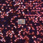 Rain Drop Sequin Stretch Velvet Fabric Burgundy