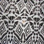 Aztec Sequins Dress Lace Fabric Black
