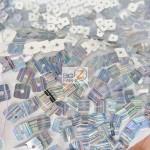 Hologram Square Sequins Spandex Fabric Close Up