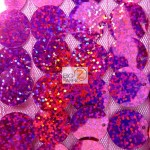 Big Dot Sequin Hologram Mesh Fabric Fuchsia