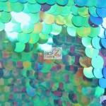 Big Dot Sequin Hologram Mesh Fabric Mermaid Green