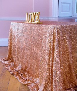 Brush Pink Sequin Fabric Table Cloth