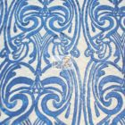 Angel Damask Sequins Lace Fabric Royal Blue