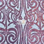 Angel Damask Sequins Sheer Lace Fabric Burgundy