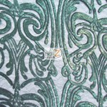 Angel Damask Sequins Sheer Lace Fabric Hunter Green