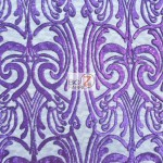 Angel Damask Sequins Sheer Lace Fabric Purple