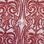 Angel Damask Sequins Sheer Lace Fabric Red