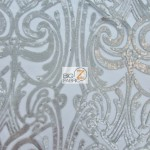 Angel Damask Sequins Sheer Lace Fabric Stone
