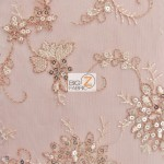 Appealing Snowflake Sequins Dress Fabric Coral