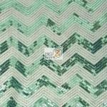 Chevron Zig Zag Sequins Mesh Fabric Aqua White