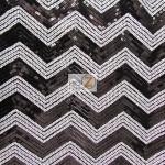 Chevron Zig Zag Sequins Mesh Fabric Black White