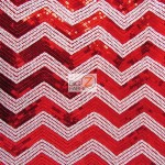 Chevron Zig Zag Sequins Mesh Fabric Red White