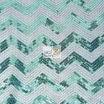 Chevron Zig Zag Sequins Mesh Fabric Turquoise White