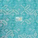 Butterfly Diamond Scalloped Sequin Fabric Aqua
